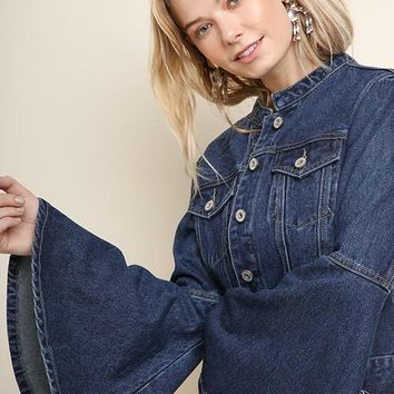 Denim Bell Sleeve Jacket