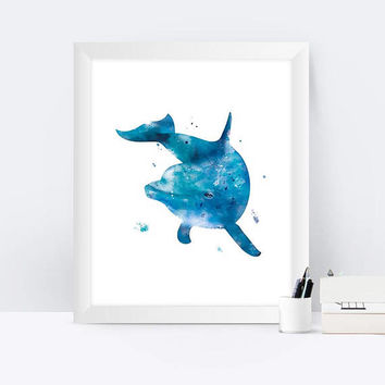 Dolphin Art Print Watercolor Dolphin Dolphin poster Dolphin painting Wall Hanging home kids room decor nursery mothers day  instant download
