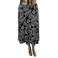 JM Collection Womens Plus Printed Long A-Line Skirt