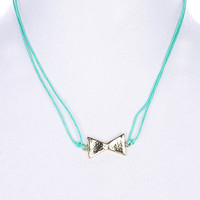 NECKLACE / LINK / CORD / METAL / BOW / RIBBON / 1/2 INCH DROP / 18 INCH LONG / NICKEL AND LEAD COMPLIANT