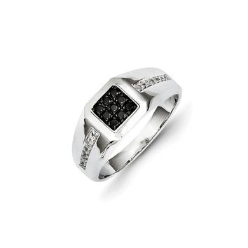 14K White Gold White & Black Diamond Square Men's Ring