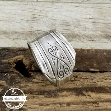 Art Deco Moderne Silver Plate Spoon Ring
