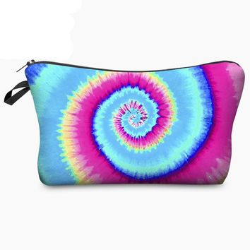 Small Tie Dye Cat Leopard Print Cosmetic Makeup Bag Beauty Pouch Toiletry