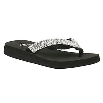 Corky's Women's Black with Jeweled Strap Elegant Flip Flop