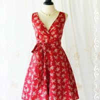 My Lady II Spring Summer Sundress Red Floral Tea Dress Red Floral Party Dress Bridesmaid Dresses Vintage Inspired Dresses XS-XL Custom