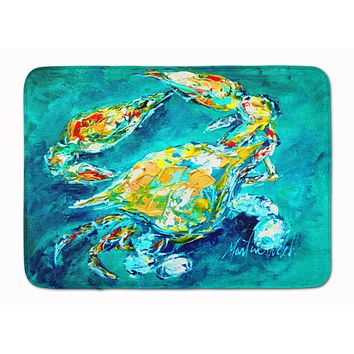 By Chance Crab in Aqua blue Machine Washable Memory Foam Mat MW1162RUG