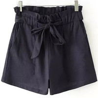 Navy Blue Drawstring Waist Shorts