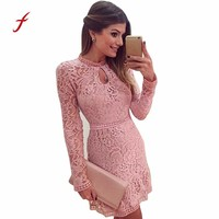 FEITONG Dress female Sexy Pink Hollow Lace Long Sleeve Slim Dress Spring Party Dresses Fashion Solid O-Neck Women's dress 2018