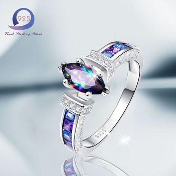 ONETOW Merthus 925 Sterling Silver Rings  with 1.5 cttw Mystic Rainbow Promise Engagement Ring for Women Size 6 7 8 9