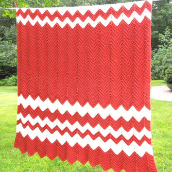 "Vintage raspberry tomato red crochet blanket afghan throw with white chevron design 78"" x 48"""