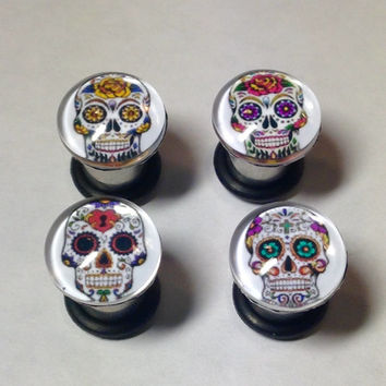 Day of the Dead Sugar Skull Picture Plugs & Earrings 14g-00g