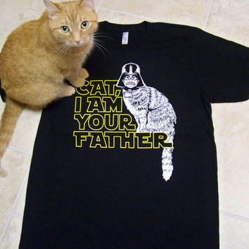 Cat shirt, Fathers Day, I am Your Father, Catman t-shirt mens, Cat Man tshirt, mens message tee, Real Men Love Cats, American Apparel, black