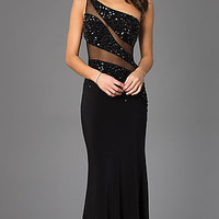 One Shoulder Dress with Sheer Panels by Madison James