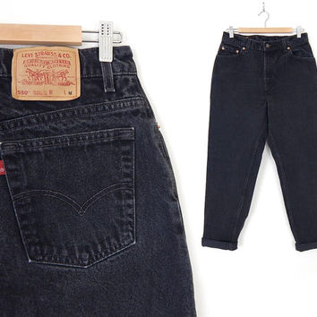 Vintage 90s Black Levi's 550 High Waisted Womens Jeans - Size 12 - Tapered Leg Black Denim Relaxed Fit USA Made Mom Jeans - 32 Waist