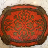 Vintage Florentine Tray by O.F.M Italy, Umber &  Red-Orange