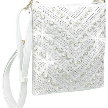 + Rhinestone Chevron Crossbody Handbag In White