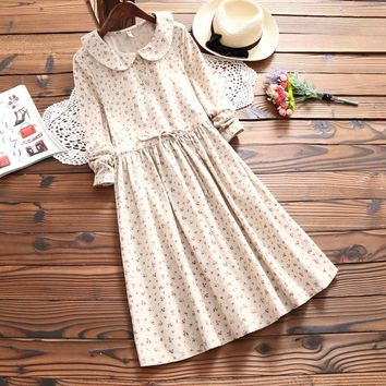 Vintage Retro Robe Femme Tunique Rockabilly Floral Printing Loose Peter Pan Collar Long Sleeved Cotton Linen Spring Autumn Dress
