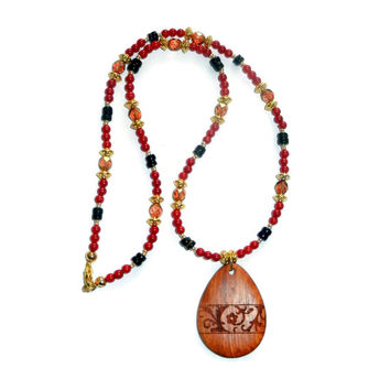 MOVINGSALE Red, Black and Gold Beaded Necklace