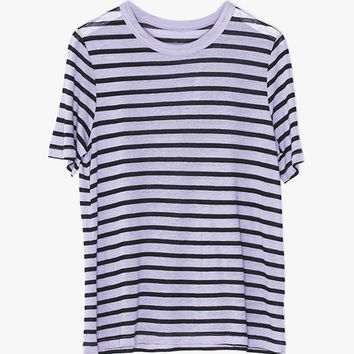 Loose Sheer Striped T-Shirt