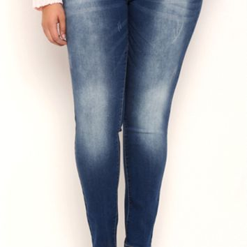 Plus Size Ariya Sweet Cheeks Blue Blasted Wash Curvy Skinny Jeans
