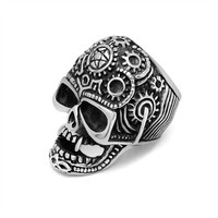 Stylish Shiny Jewelry Gift New Arrival Strong Character Fashion Men Titanium Punk Vintage Skull Ring [6526798595]