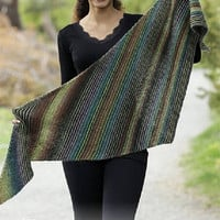 Winter Shawl Knitted Shawl rainbow shawl stipes shawl gradient yarn autumn fall country shawl wool hand knit shawl fashion Drops Lilith