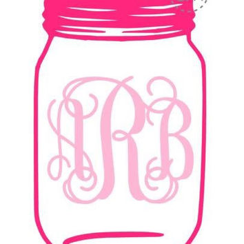 Mason Jar Monogram Decal