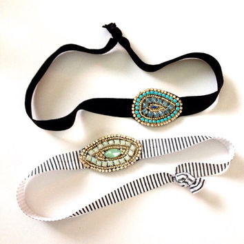 Set of Two Rhinestone Anthro Inspired Bling Beaded Headband Stripe Mint Turquoise Gold Matte Spring Elastic Headbands