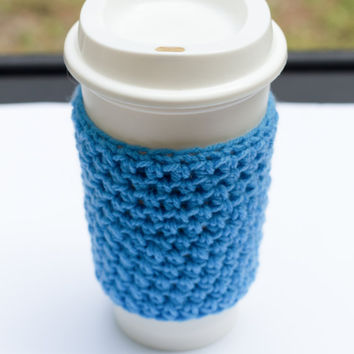 Light Blue Crochet Cup Cozy, crochet mug cozy, coffee mug cover, coffee sleeves, Christmas, crochet cozy, crochet mug cozy,mug cozy