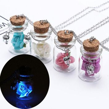 New Hot Mini Drifting Bottle Luminous Rose Flower Pendant Necklaces for Women Party Summer Beach Jewelry Gifts Chain VQ454