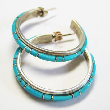 Turquoise Hoop Earrings Channel Inlaid NASTACIO Zuni Post Sterling
