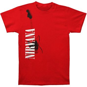 Nirvana Men's  Red Guitar T-shirt Red