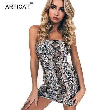 Articat Snake Skin Print Off Shoulder Dress Women Strapless Bodycon Bandage Autumn Winter Dress Sexy Club Party Dress Vestidos