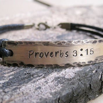 Proverbs 3:15 bracelet, Customized bracelet, Custom stamped bracelet, personalized bracelet, Engraved Bracelet, quote bracelet, customized