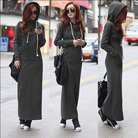 Women Fleece Autumn Winter Slim Pocket Hoodie Bodycon Sweater Long Maxi Dress