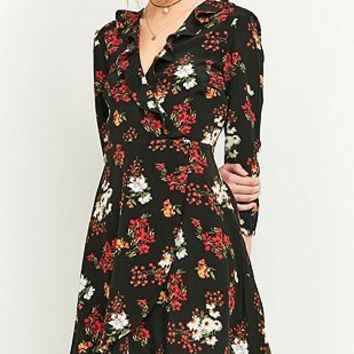 Pins & Needles Black Floral Frill Wrap Dress - Urban Outfitters