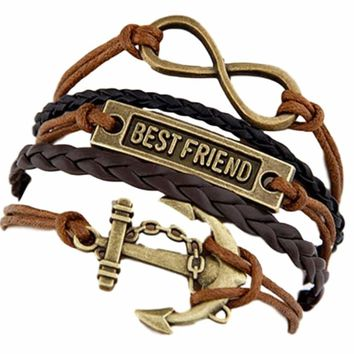 Multi 5 Layer Infinity, Best Friend, Anchor Charms Wrap Bracelet Faux Brown Leather/Suede