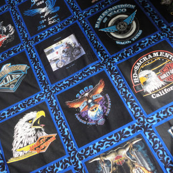 Queen Size Harley Davidson T-Shirt Quilt with Fade Resistant Photo