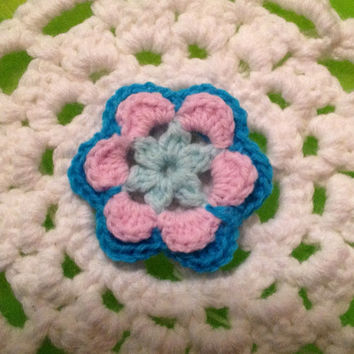 Hand Crochet Flower Appliqué Embellishment- Mint Green, Cotton Candy Pink and Teal Blue