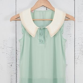 Top - Next Chapter Lace Trim Vintage Collar Sleeveless Top in Mint