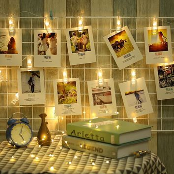 Photo Card LED String Clip Lights - Battery Operated - Three Colors and Two Sizes Available - 1M 10LEDs or 2M 20LEDs
