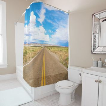 Arizona Desert Road and Mountain Shower Curtain