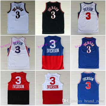 2017 Georgetown Hoyas 3 Allen Iverson College Jersey New Rev 30 Material Allen Iverson Shirts Throwback Uniforms Red Gray Blue White Black
