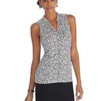 White House | Black Market Sleeveless Leopard Button Front Top
