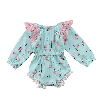 Kids Baby Girls Clothing Tops Lace Floral Bodysuits Long Sleeve Flower Cute Jumpsuit Outfits Baby Girl Clothes 0-24M