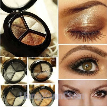 Smoky Cosmetic Set 3 Colors Professional Natural Matte Eyeshadow Makeup Eye Shadow Eye Shadow Glitter [8833975692]