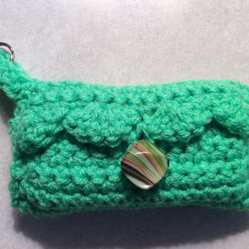 Pocket Tissue Holder  With Key Ring / party favor / party game prize / gift idea / hand crochet / green / purse tissue / made in USA