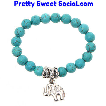 Throw In a Turquoise Beaded Tibetan Silver Elephant Necklace For $7.99