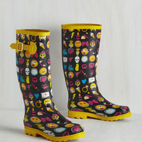 Quirky Splash of Panache Rain Boot in Emoji