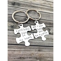 Couples Keychains, I will hold you in my heart till i can hold you in my arms LDR, Anniversary Gift